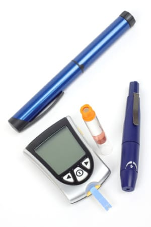 Diabetes testing supplies include glucose meters, lancets, and test strips.