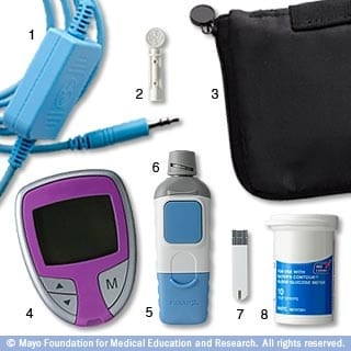 The Mayo Clinic showcases sample diabetes testing supplies.