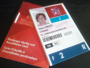 Chilutti's London Paralympic Credentials will be used for access to the Paralympic Village.