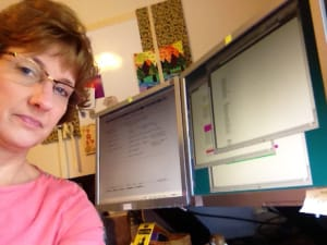 Coder, Patricia Kerr in her home office.
