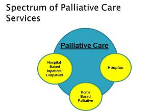 Graphic depicting the spectrum of palliative care as seen in http://www.slideshare.net/Kindredhealth/palliative-care-across-the-continuum