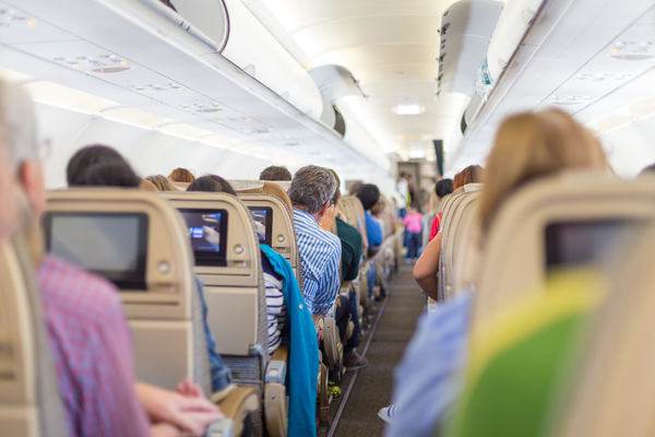image of interior of a commercial airplane