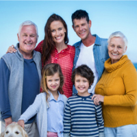 Multi-generational family portrait on the beach