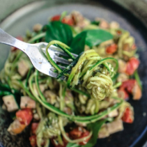Image of zoodles with avocado alfredo sauce