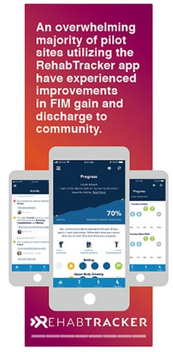 "Image of Rehabtracker logo and iPhone with rehab tracker application with Quote ""An overwhelming majority of pilot sites utilizing the RehabTracker app have experienced improvements in FIM gain and discharge to community"